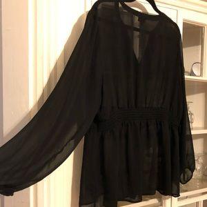 Sheer black long sleeve shirt torrid size 2